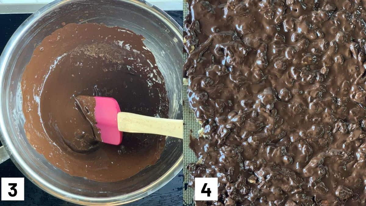 Two images showing how to make the chocolate including how to heat up the chocolate over the stove and adding it on top the granola.