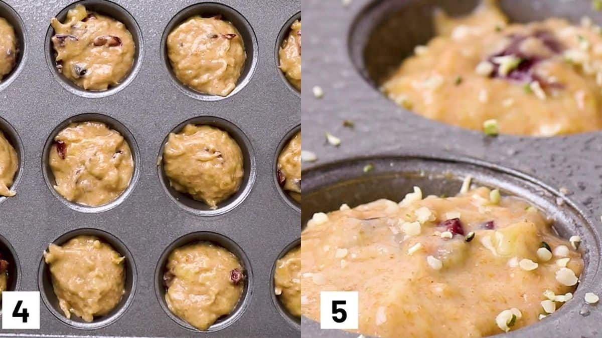 Two images showing the last two steps to make recipe including how to scoop batter into pan and sprinkling with hemp hearts.