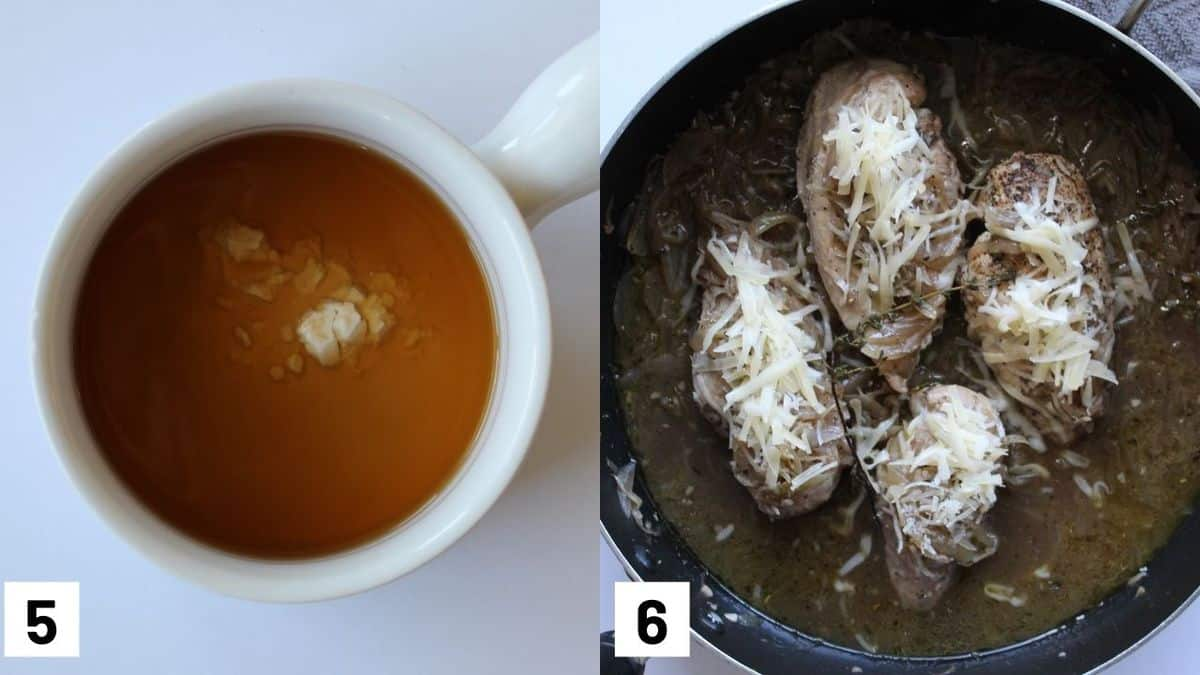 Images of the final two steps to make recipe including making a roux and adding cheese on top of the chicken breasts.