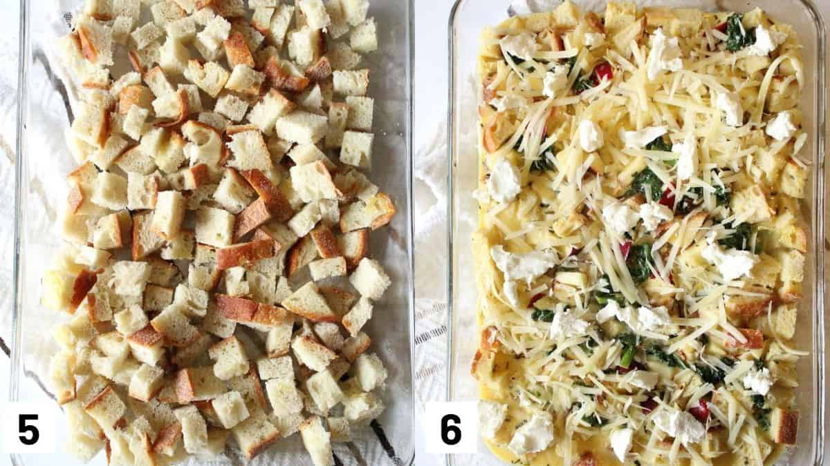 Images of the last two steps of the recipe including arranging the diced bread in casserole dish and adding egg mixture on top and topping off with cheese.