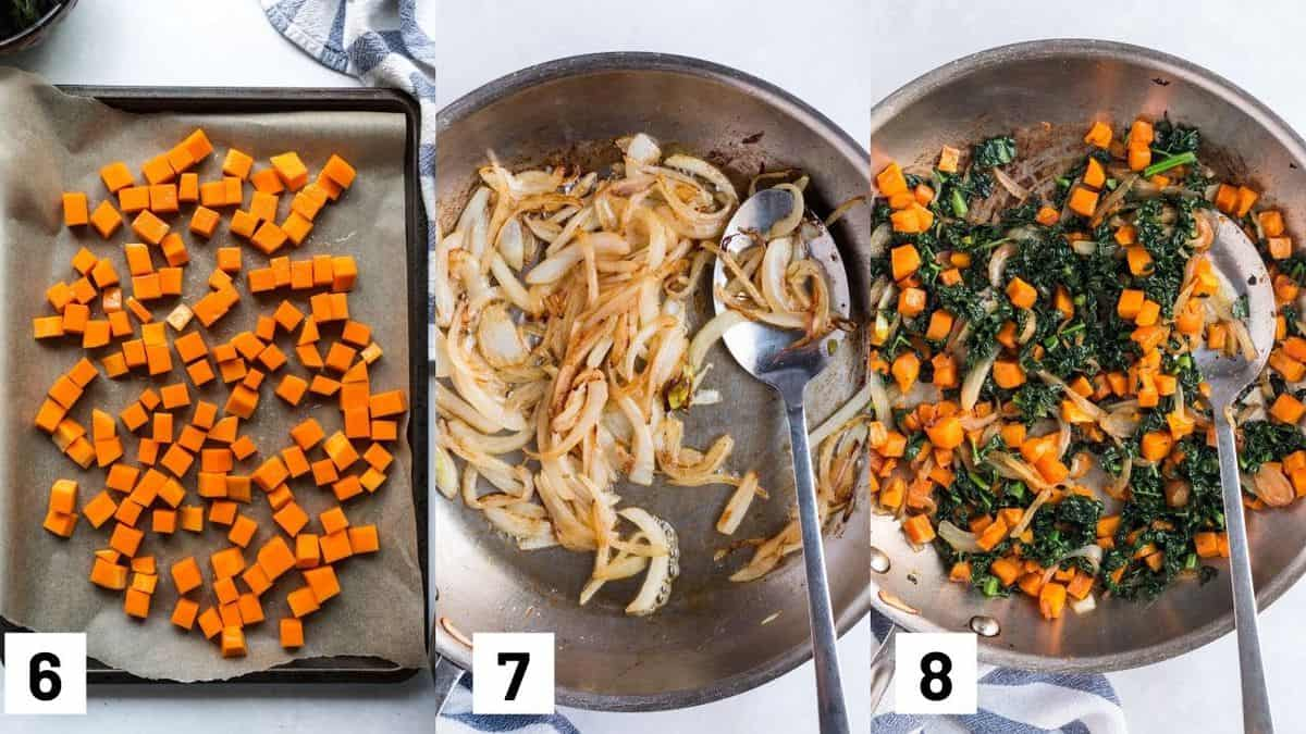 Three images showing how to cook quiche fillings including roasting the butternut squash, caramelizing the onions, and sauteeing the kale.