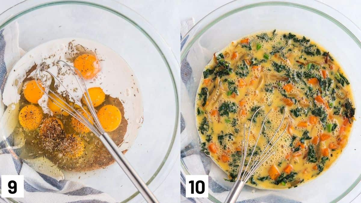 Two side by side images showing how to make egg filling including mixing egg mixture with kale and butternut squash.