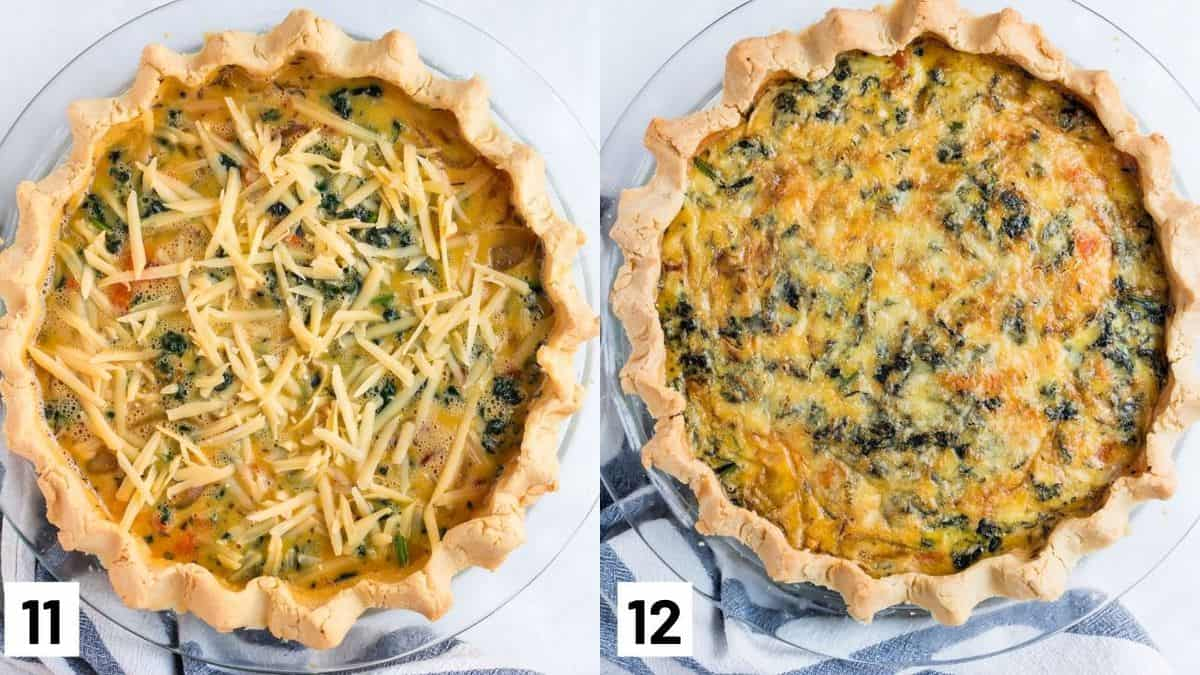 Two side by side images showing egg mixture being added to the gluten free crust and topped with cheese, as well as the final finished dish.