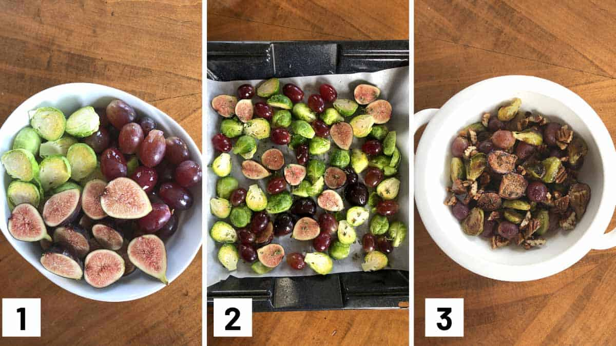 Steps one to three showing how to toss, season, and roast the balsamic brussel sprouts.