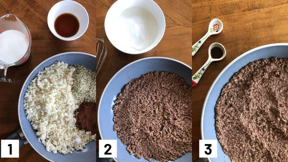 Images of the three steps to make recipe including cooking down the cauliflower, adding in the beaten egg whites, and adding peppermint and vanilla extract.