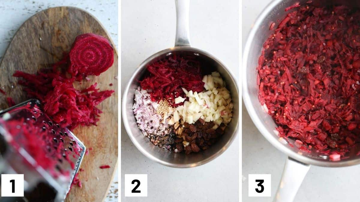 Images of the three steps required for making the apple chutney including grating the beets, combining all ingredients in to a sauce pot, and boiling until cooked.