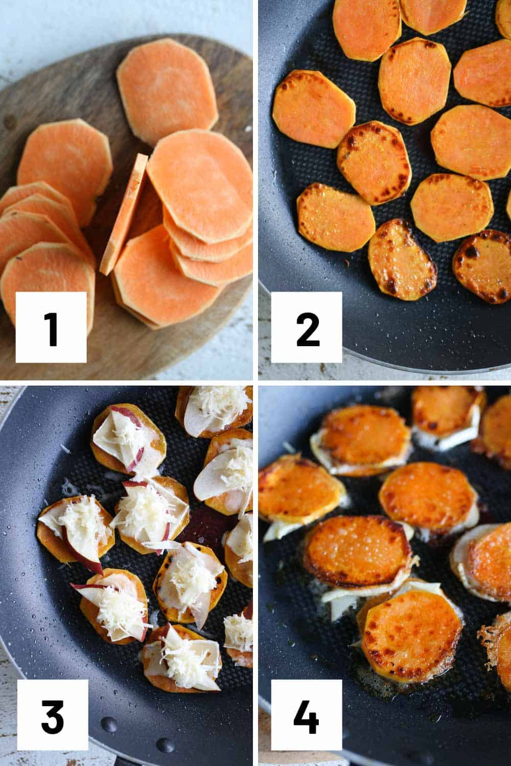 Step by step photos showing how thin to slice sweet potatoes, how to grill them, and how to assemble.