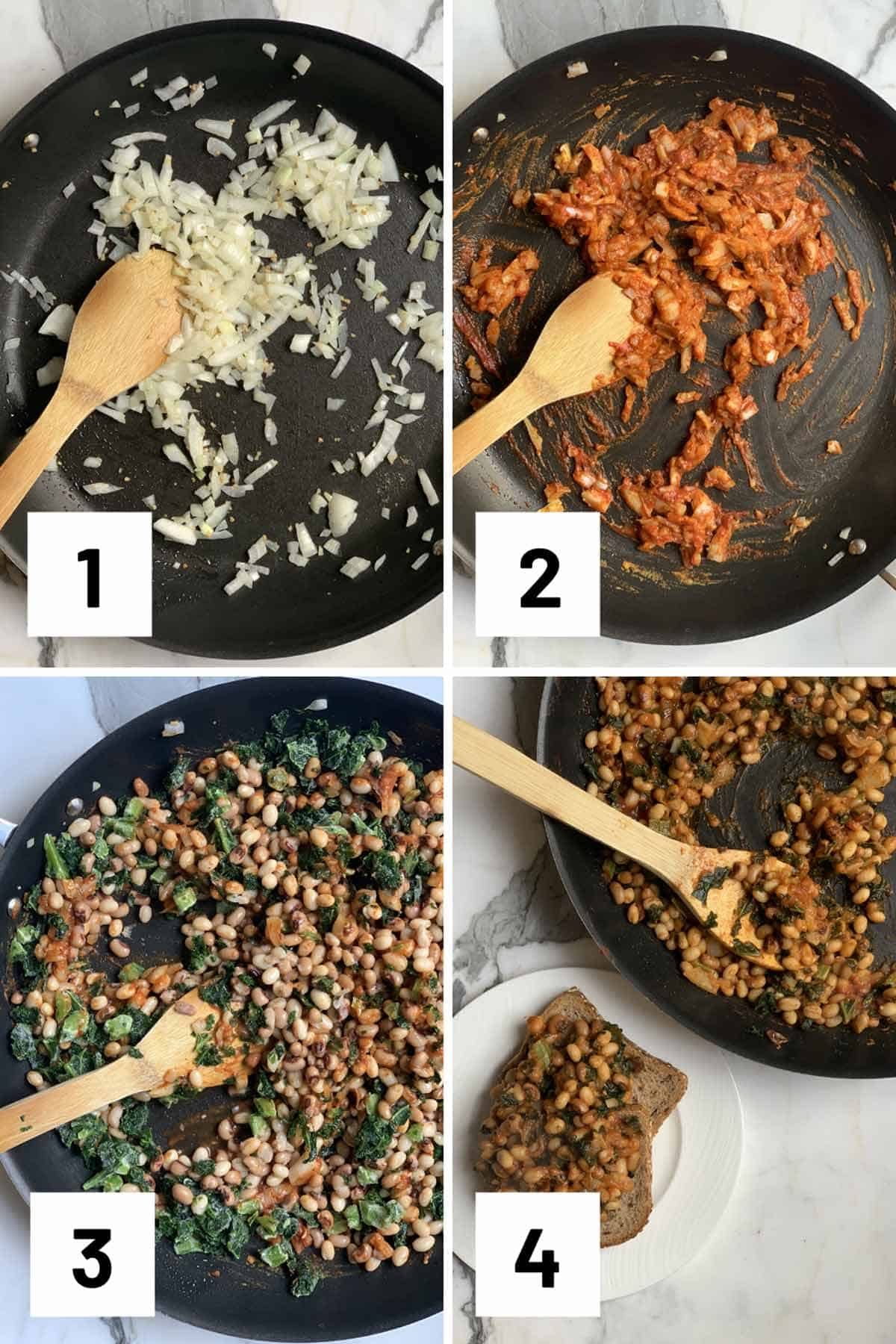 Set of four step by step instructional photo for how to saute ingredients to make beans on toast.
