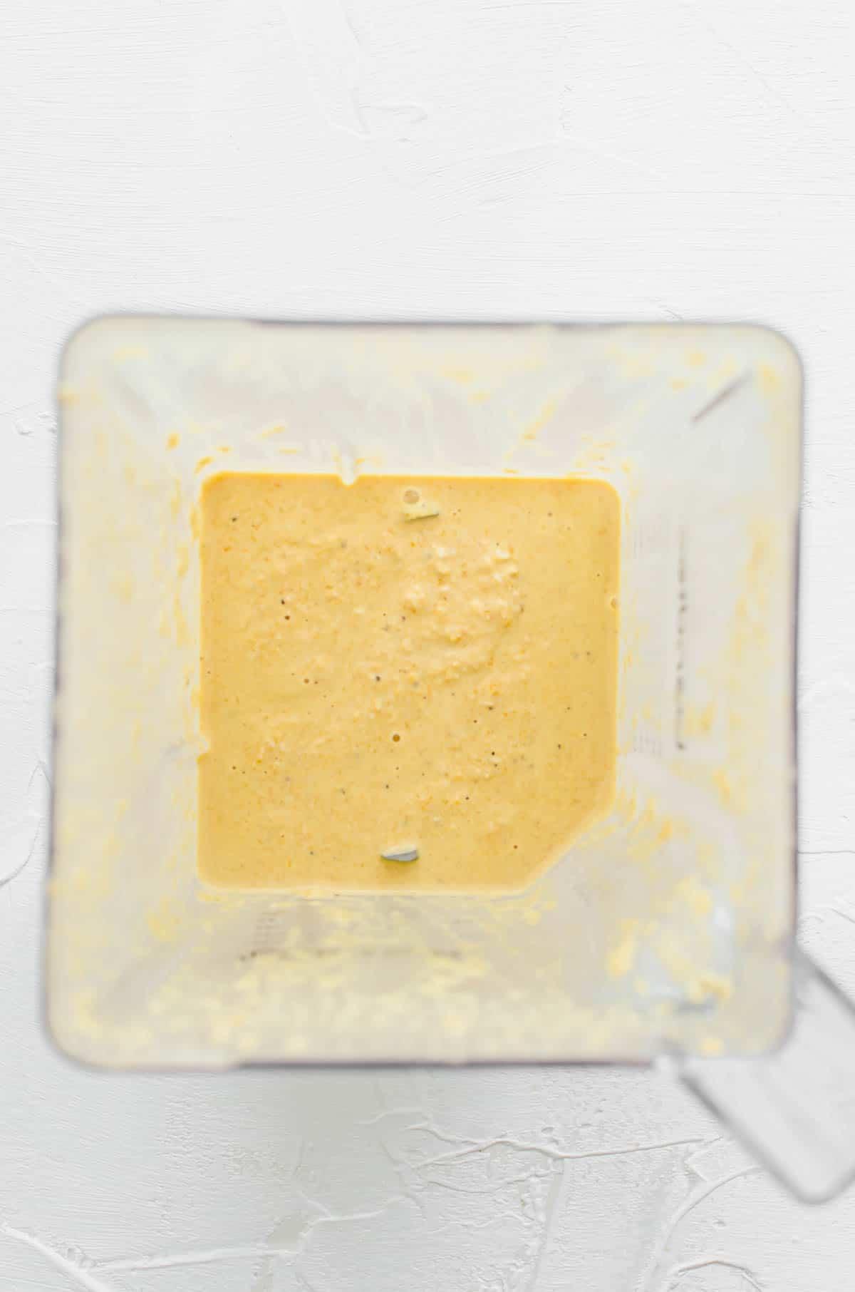 Cashew cream in a blender.