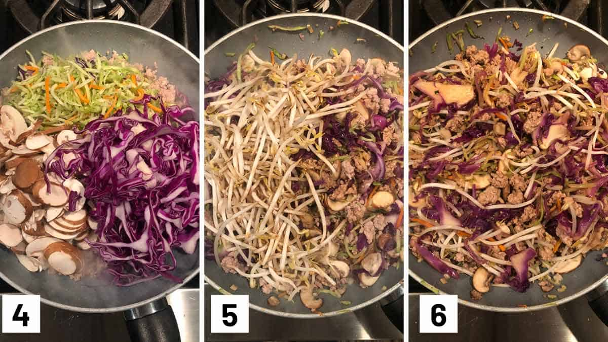 Process photo showing adding broccoli slaw, cabbage, and mushrooms into a pan, stir frying it with sauce, and adding in bean spouts and tossing.
