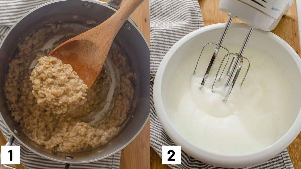 First two steps of protein oatmeal recipe showing how the oatmeal is cooked and whipping the egg whites.