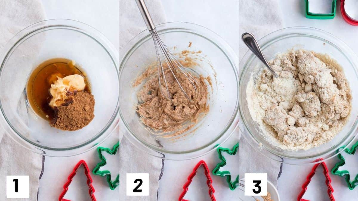 Three side by side images showing how to make the gluten free Christmas cookie dough.