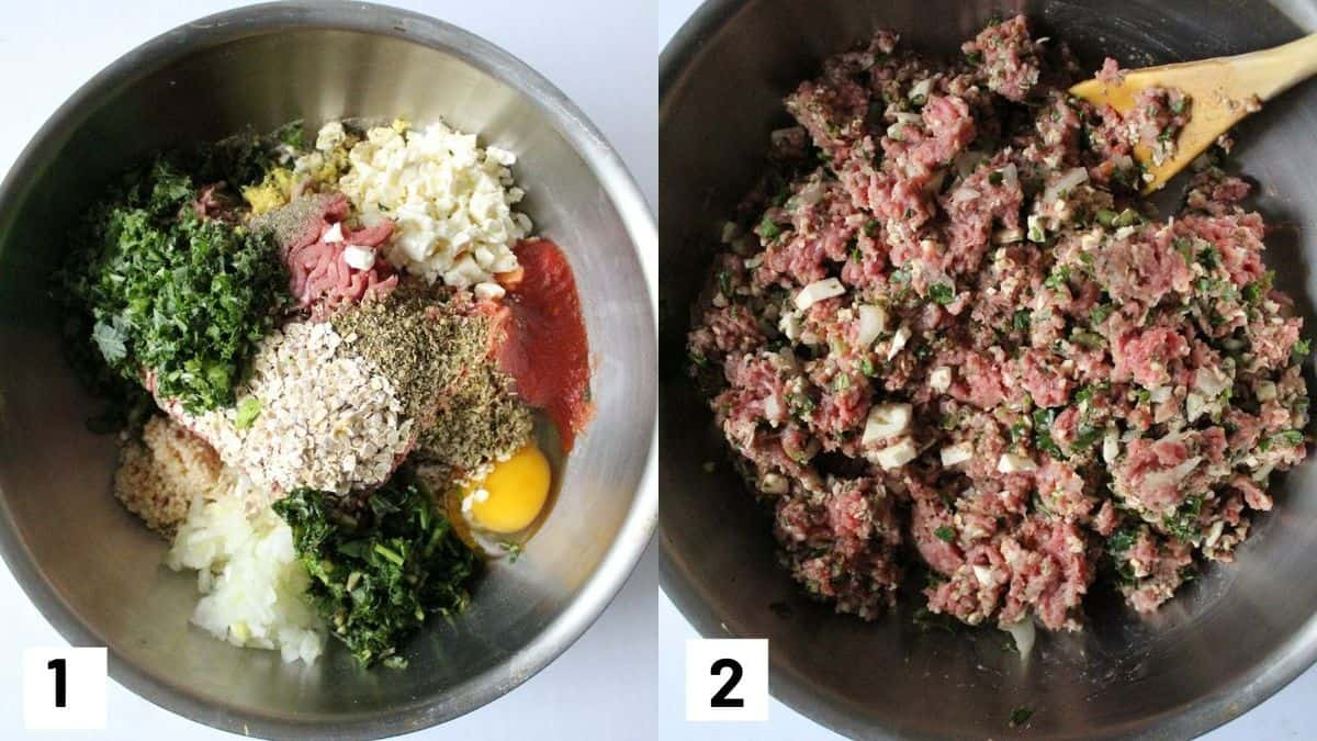 Two side by side images showing meatloaf muffin ingredients mixed together in a mixing bowl.