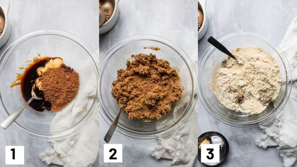 Three side by side images showing how to make the cookie batter for the gingerbread cookies.