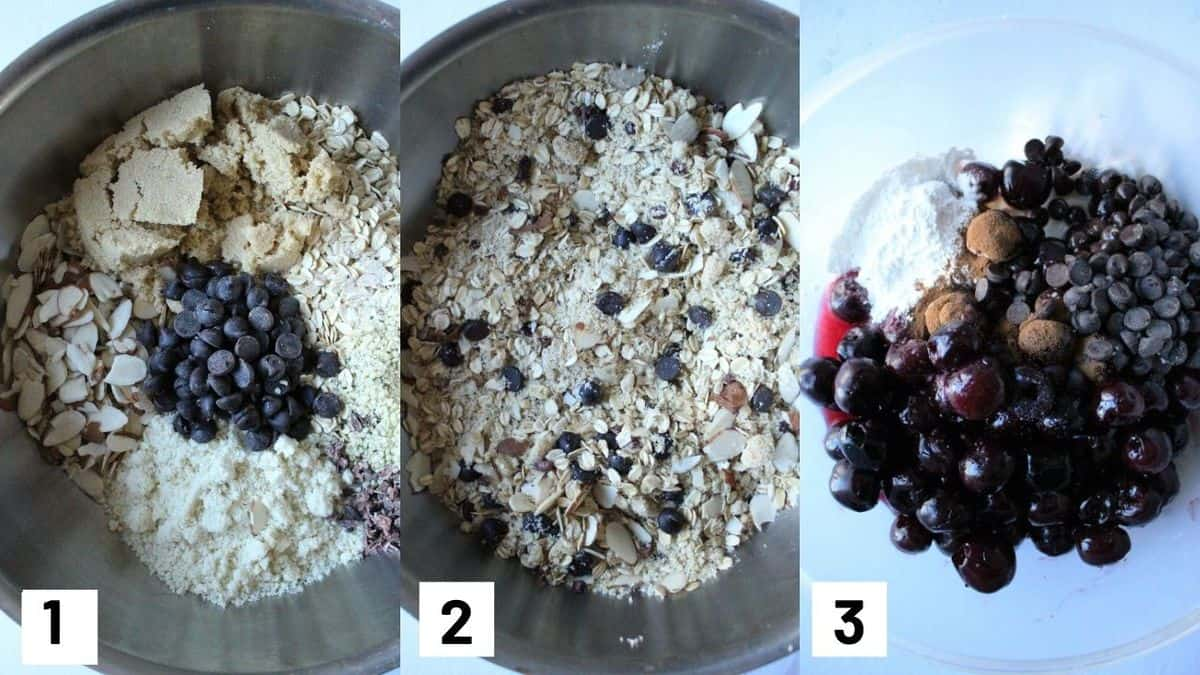 Three side by side images showing chocolate cherry crisp mixture including the granola mixture and cherry base.