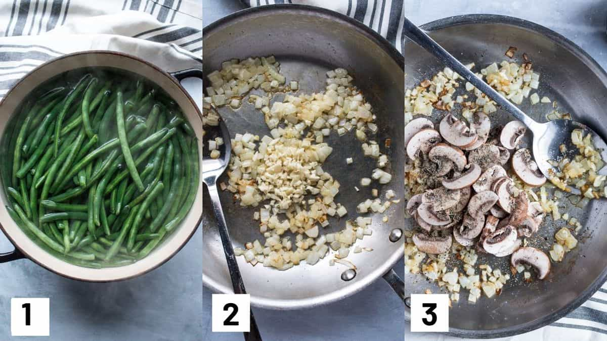 Three side by side images of the first three steps of the recipe including blanching the green onions, and sauteing onions, garlic, and mushrooms.