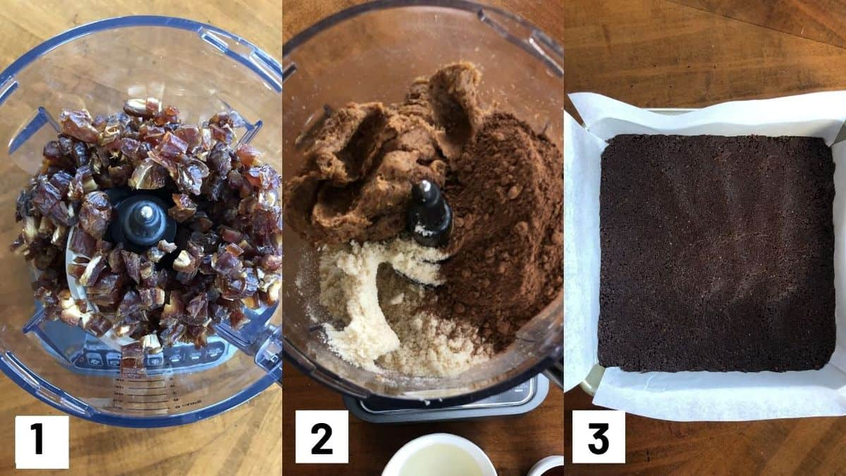 Three side by side images showing how to make first layer of brownie recipe.