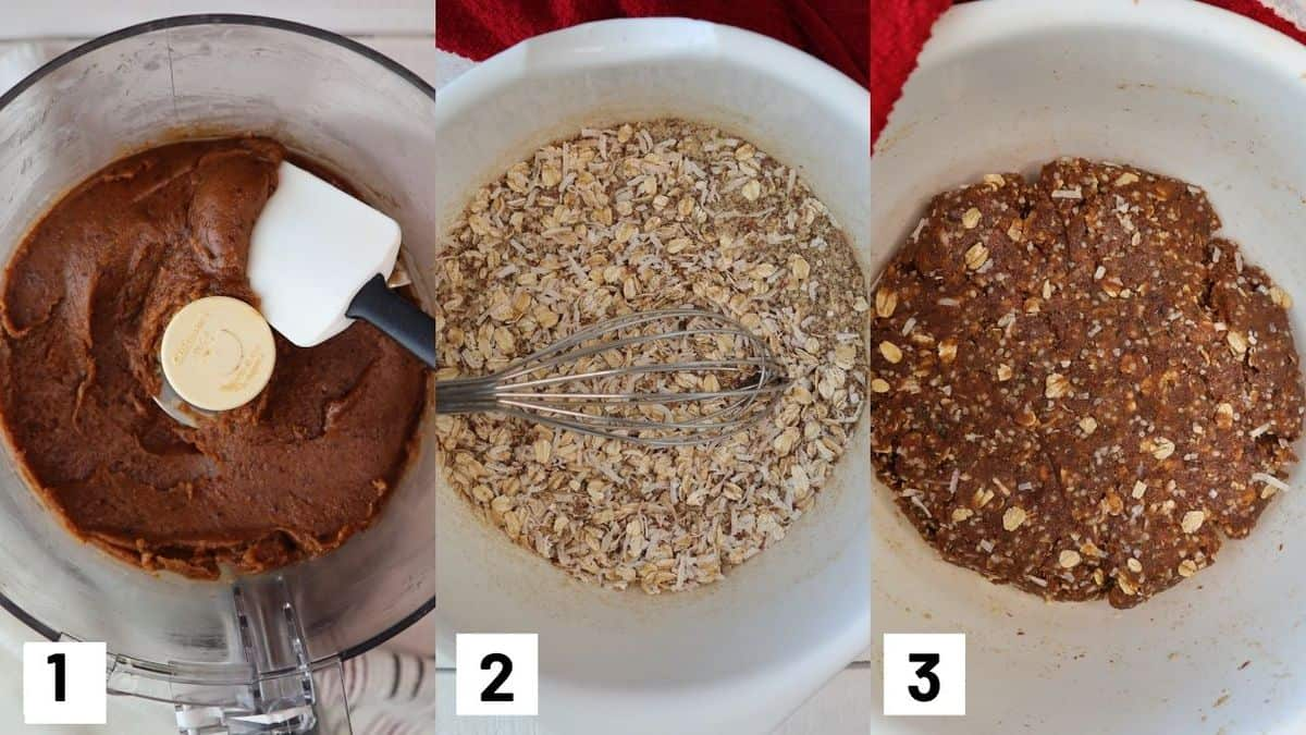 Three side by side images showing how to make granola bar mixture including how to prepare the wet and dry ingredients.
