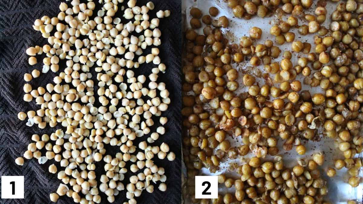 Two images showing how to prepare crispy chickpeas by rubbing them between two towels, and roasting them in the oven with spices.