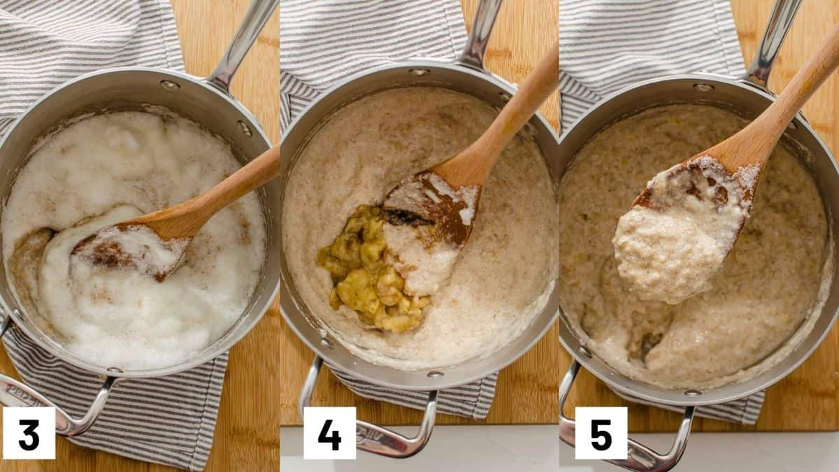 The last three steps of the recipe showing the whipped egg whites, banana, and vanilla being mixed into the oats.