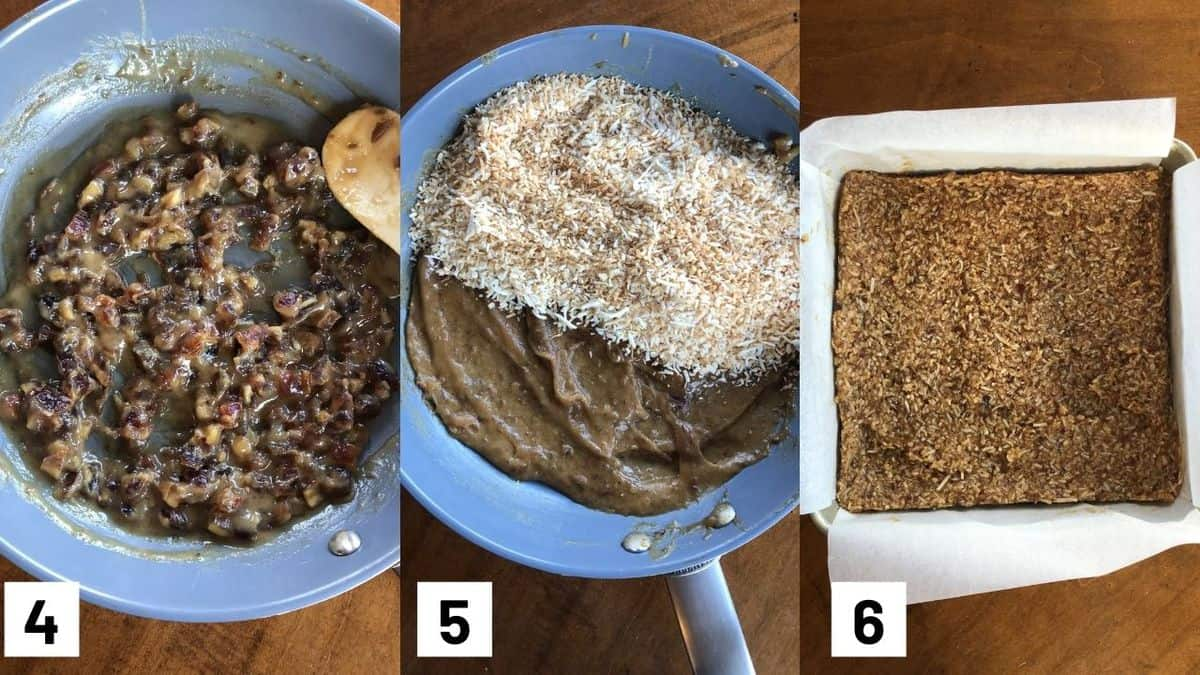 Three side by side images showing how to make recipe including heating up the date mixture, adding coconut flakes, and pressing mixture into baking dish.