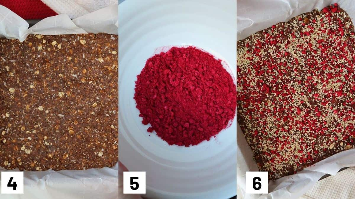 Three side by side images showing how to press the granola bar mixture into the pan and adding freeze dried strawberries.