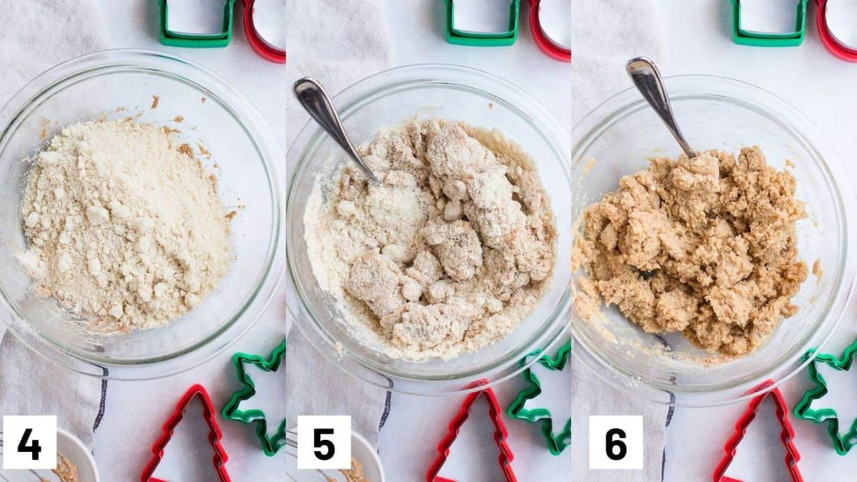 Three side by side images showing how to make the gluten free cookie dough.