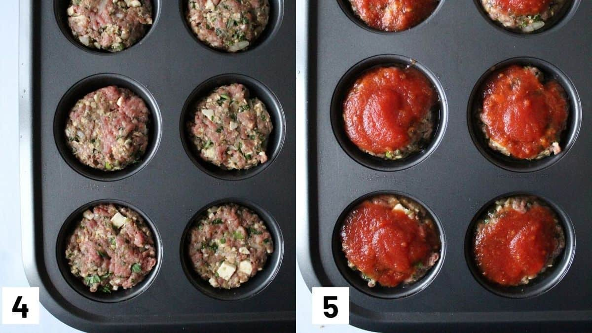 Two side by side images showing meatloaf muffins in a muffin tin with tomato sauce glaze on top.
