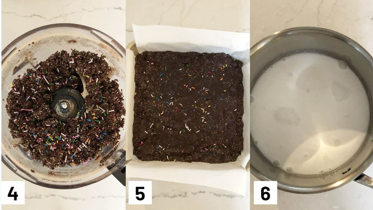 Three side by side images showing how to make recipe including adding in the sprinkles to the brownie mixture, pressing brownie mixture into a pan, and heading up coconut milk in a sauce pot.