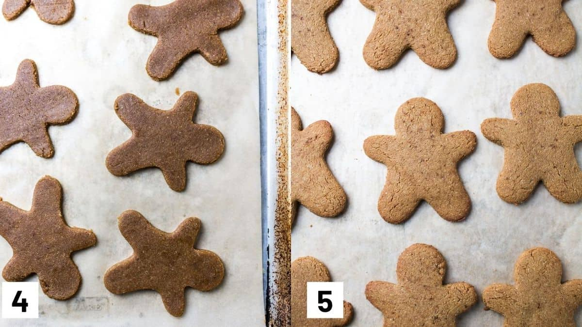 Two side by side images showing what the gingerbread cookies look like before and after coming out of the oven.
