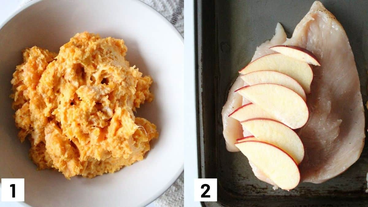 Two side by side images of first two steps of recipe showing the sweet potato mixture, and sliced chicken breast with apple slices on a sheet pan.