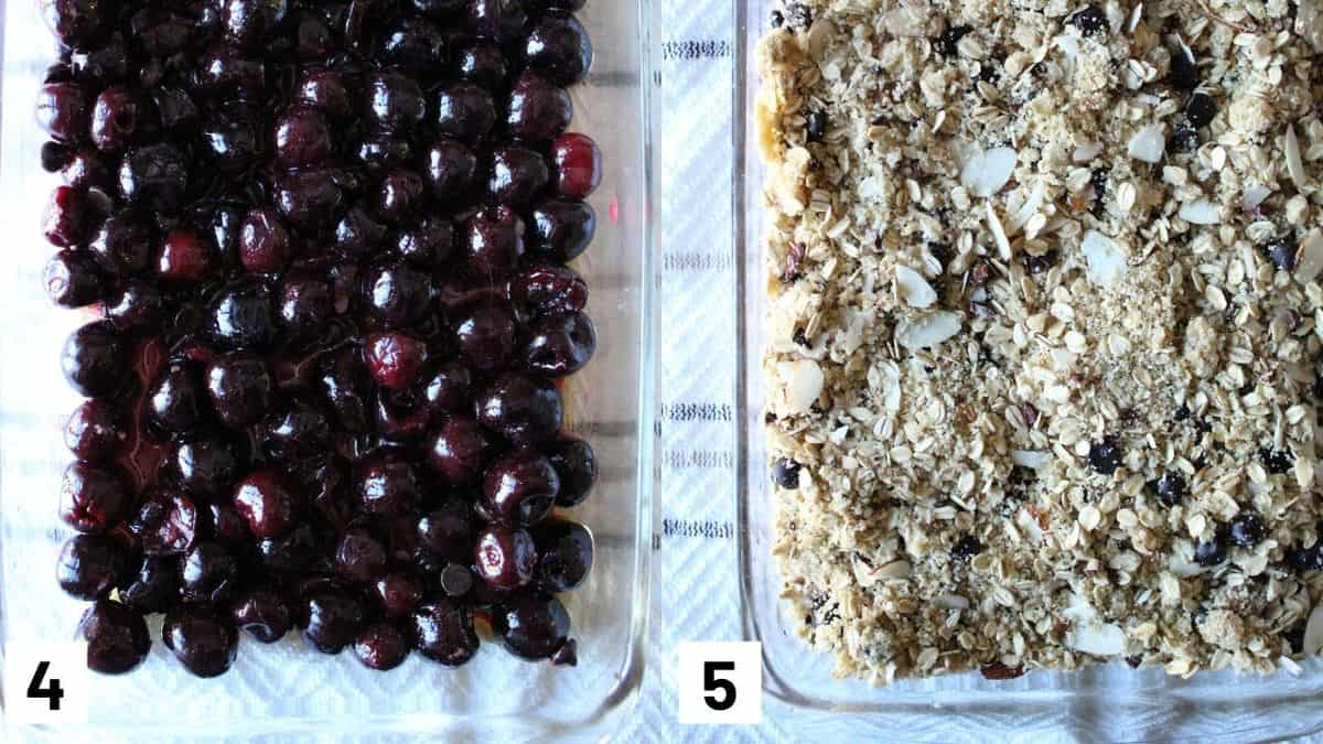 Two side by side images showing the first layer of cherries in a baking dish and topped with the granola mixture.