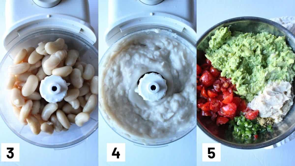 Three images showing how to make protein guacamole including blending the white beans and combining with mashede avocado, tomato, jalapeno, and cumin.