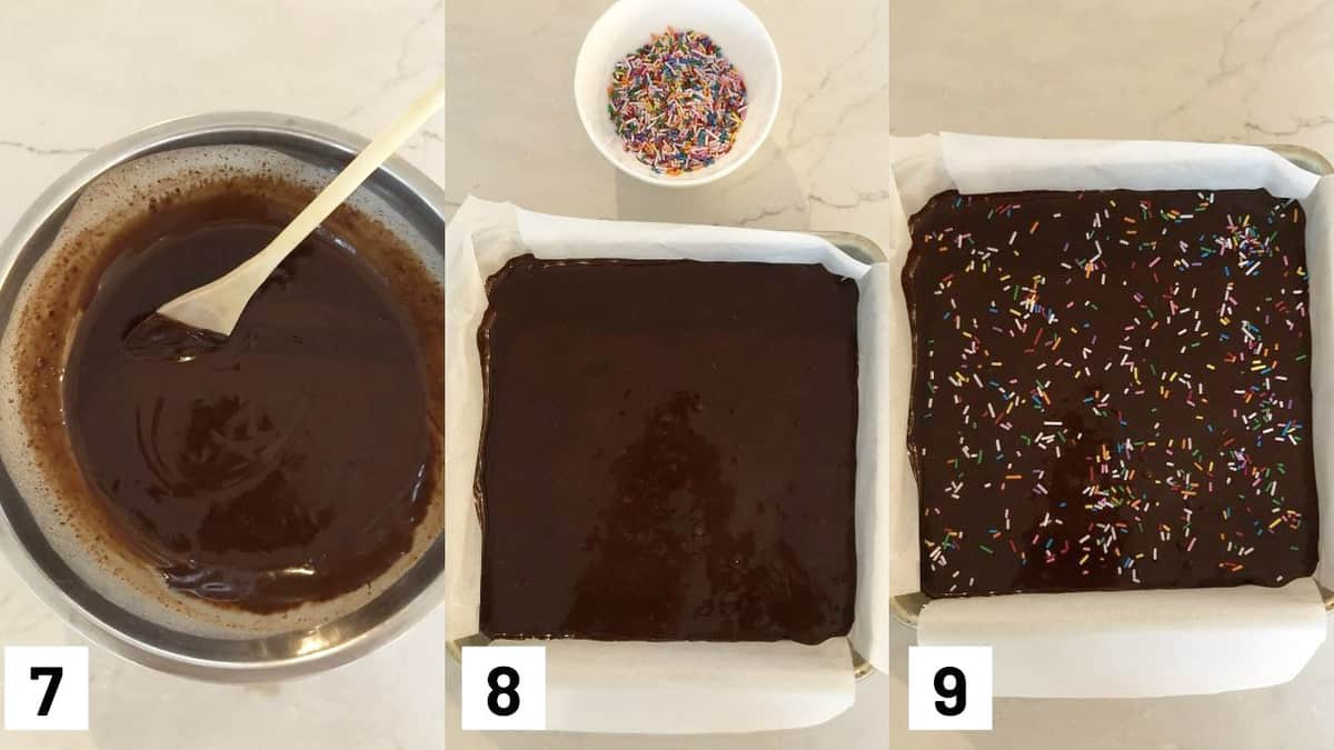 Three side by side images showing how to melt the chocolate with the coconut milk, pouring over top of the brownie base, and add sprinkles.