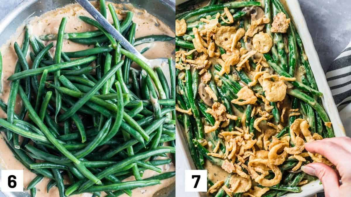 Two side by side images showing the cooked green beans added to the casserole sauce and poured into a baking dish and topped with crispy onions.