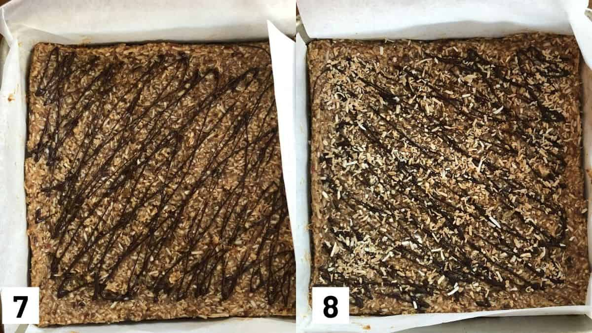 Two side by side images of brownies in a baking dish and drizzled with chocolate, topped with shredded coconut.