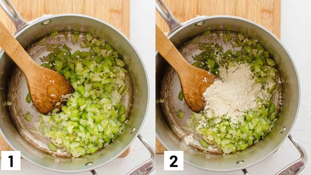 Two side by side images of sauteeing celery with garlic and flour.