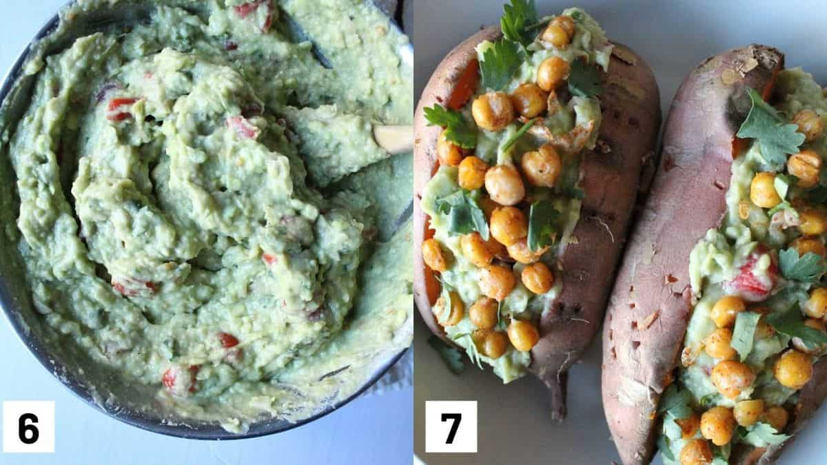 Two images showing the final guacamole mixture and two avocado stuffed sweet potatoes with crispy chickpeas.
