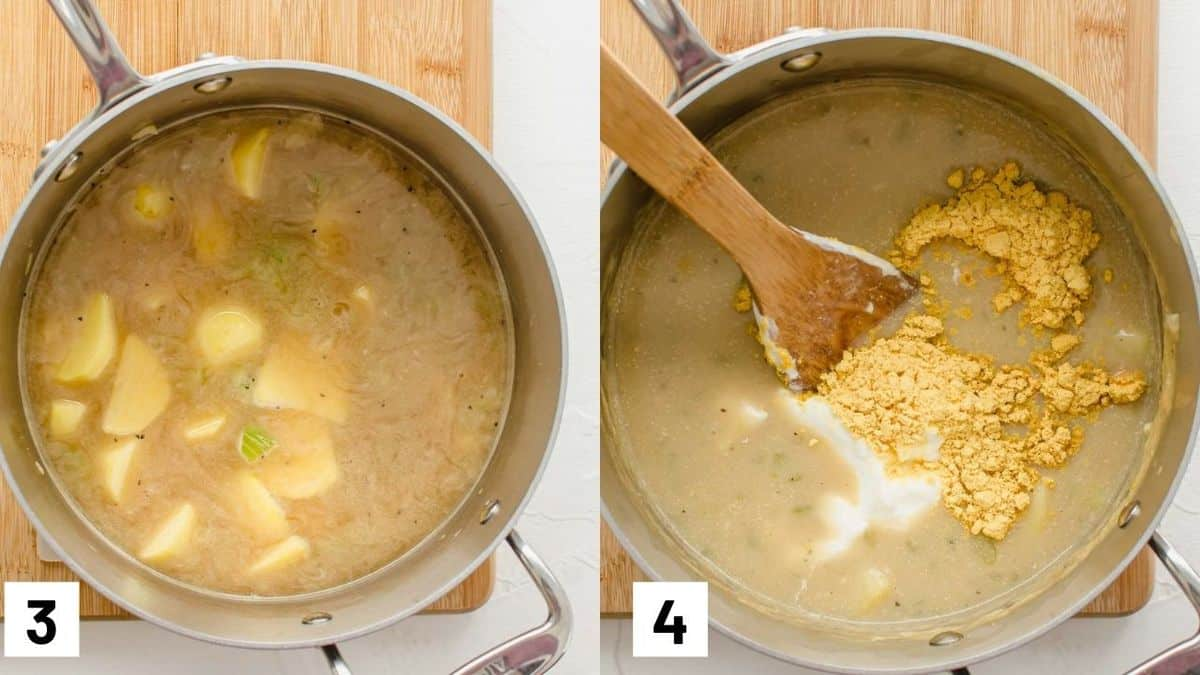 Two side by side images of how to make potato soup including adding the broth, milk, potatoes, sour cream, and nutritional yeast to a pot.