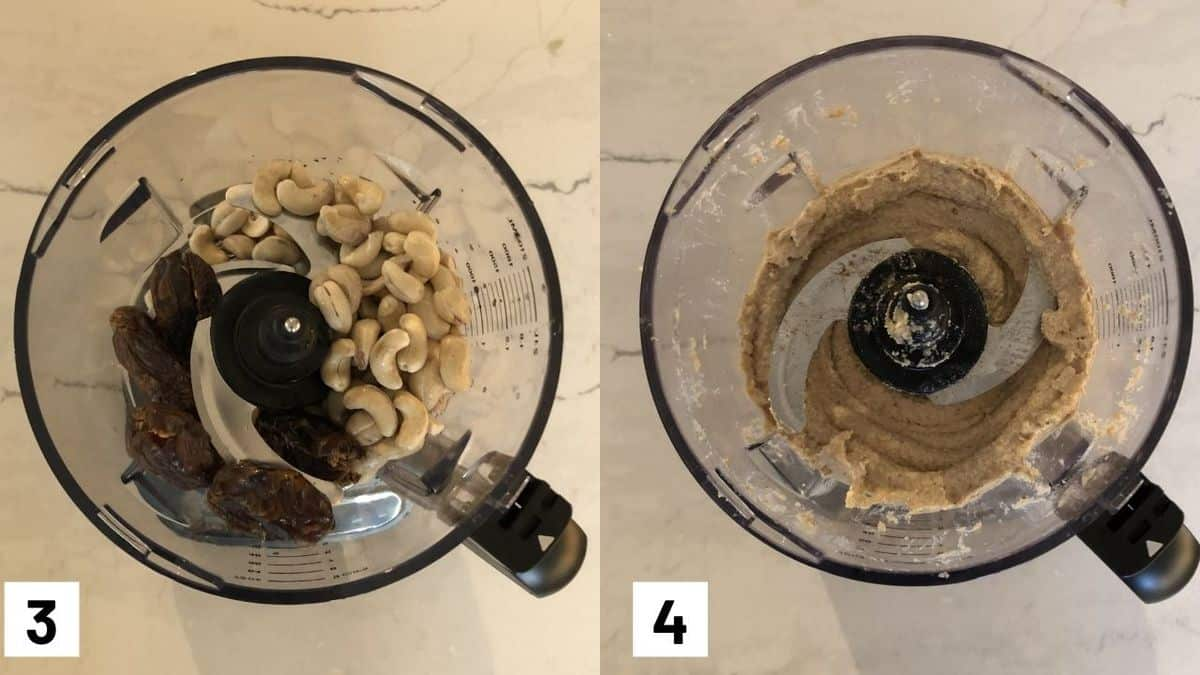 Two side by side images showing how to make cheesecake layer by processing cashews, dates, lemon juice, oil, vanilla and cinnamon.