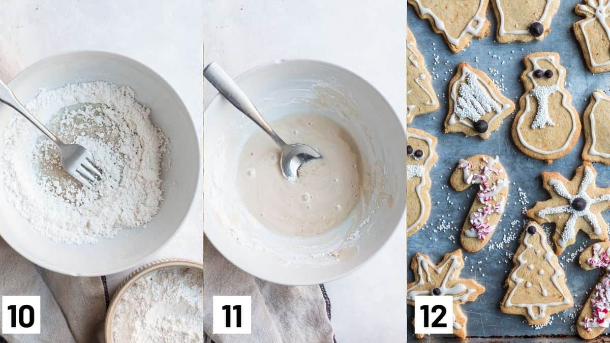 Three side by side images showing how to make the frosting with icing sugar and almond milk, as well as the finished Christmas cookies decorated with icing and sprinkles.