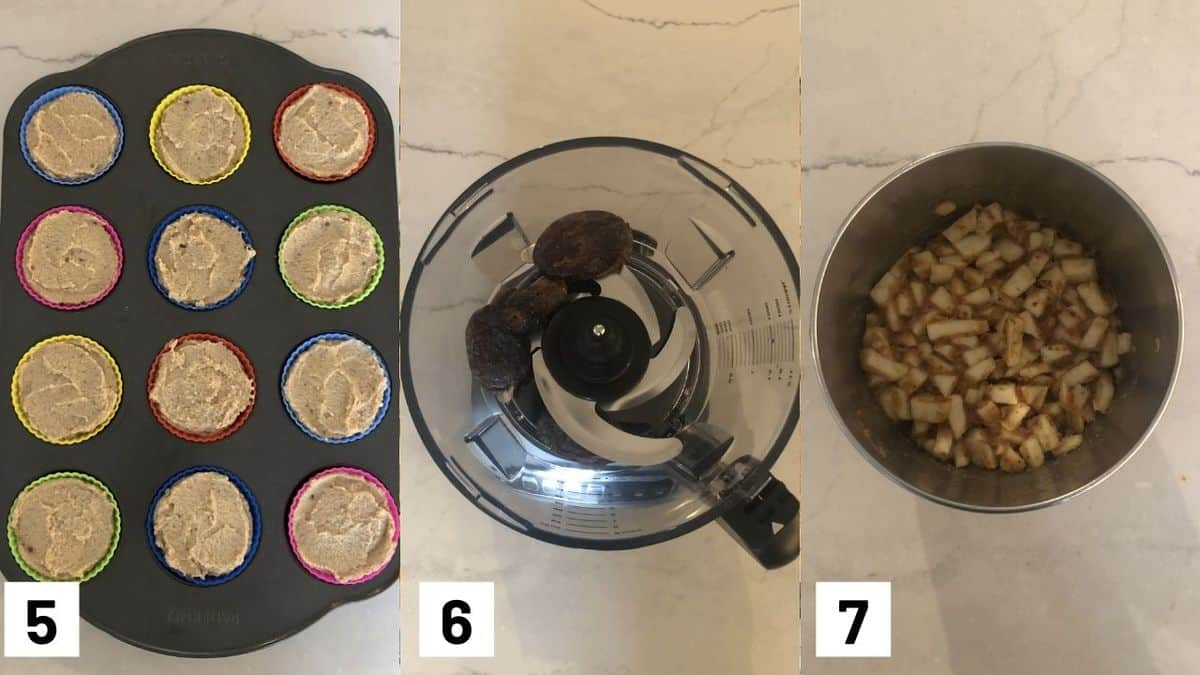 Three side by side images showing the cheesecake mixture being added to the cupcake liners, and tossing the apples in the vegan caramel.