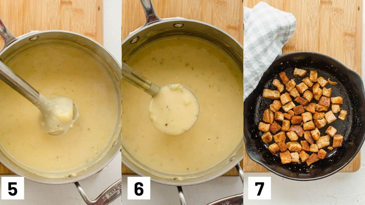 Three side by side images showing pureed potato soup and homemade croutons.