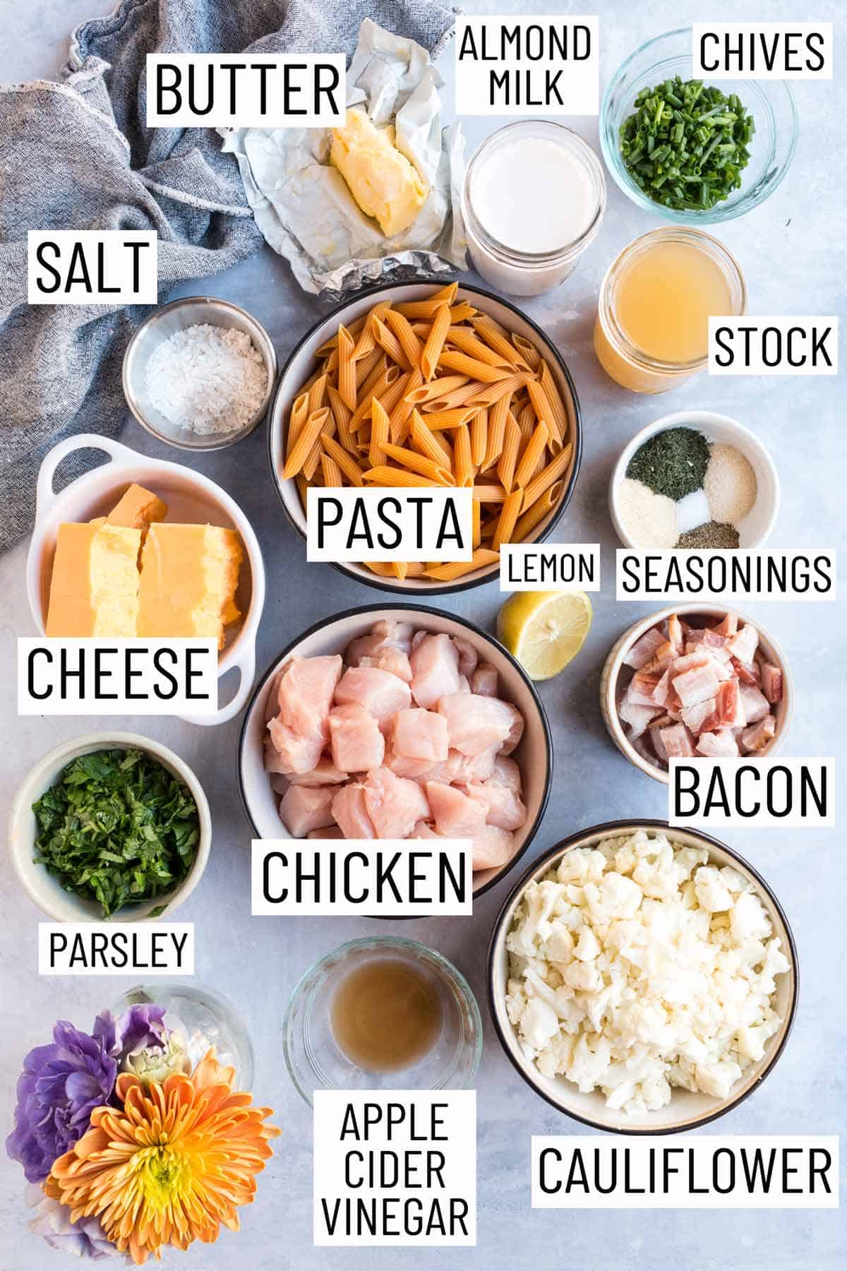 Overhead photo of the ingredients required to make a chicken bacon ranch casserole.
