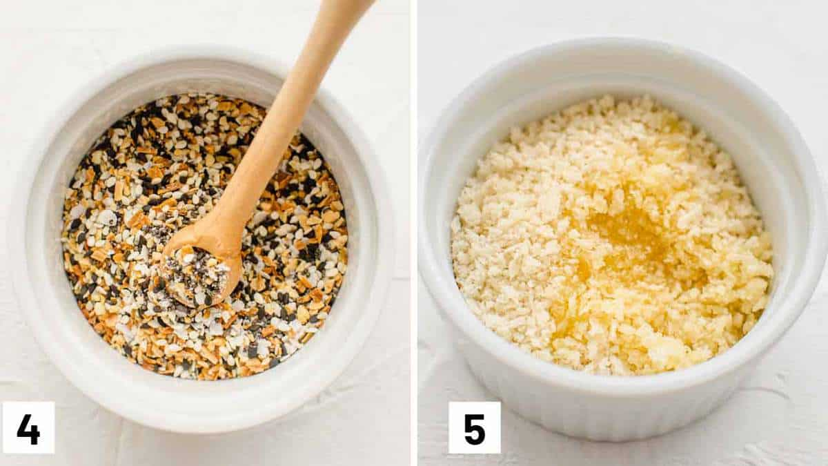 Two photos showing everything bagel seasoning and panko mixed with butter.