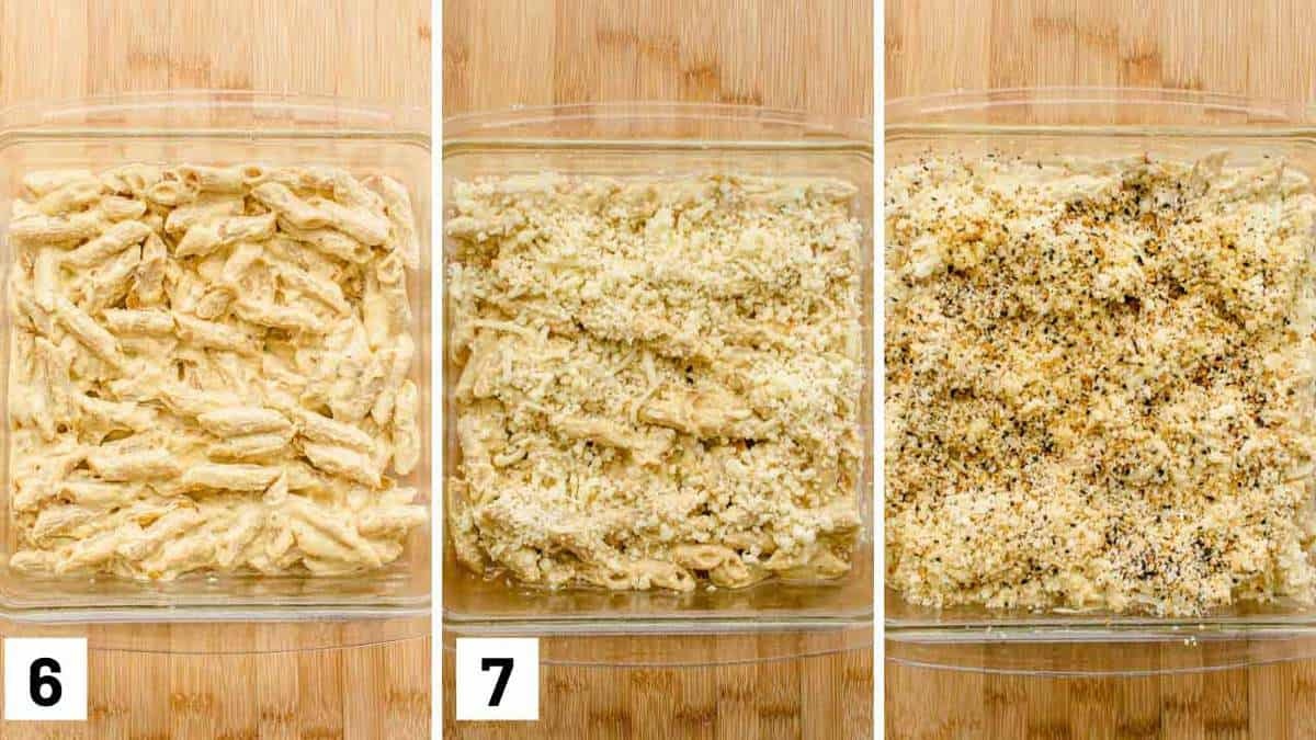 Instructional photos showing the pasta going into a baking dish, sprinkling cheese and panko, and then topping off with everything bagel seasoning.