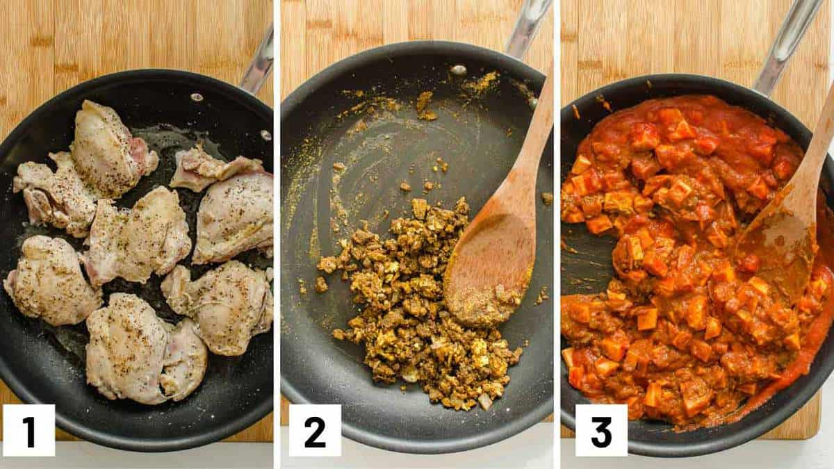 Step by step instructional photos showing chicken thighs being seared.
