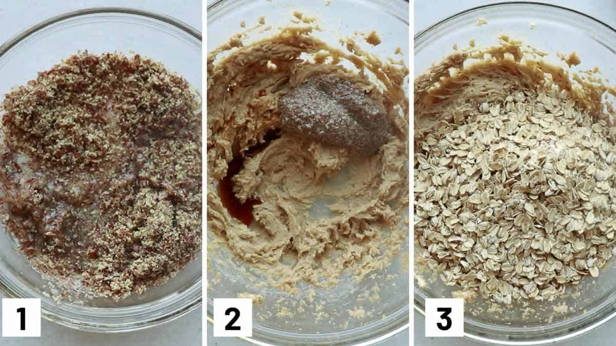 Instructional step by step photos showing how to combine the flax seed and water, creaming butter, sugar, and the flax mixture, and then adding the rolled oats.