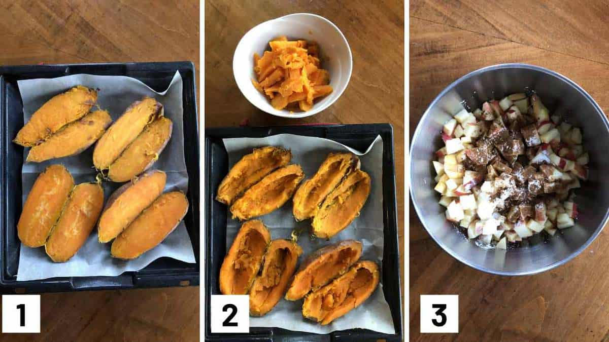 Step by step instructional photos of baked yams and scooped out and apples being combined with spices.
