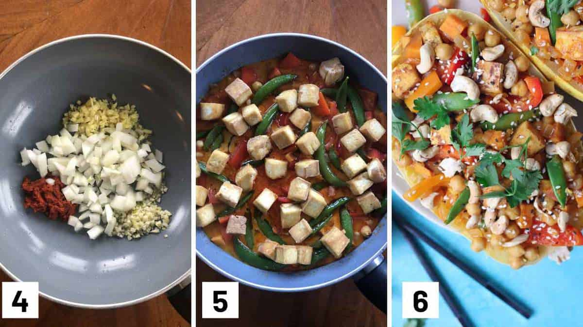Step by step photos showing how to make the curry base before adding in the vegetables to cook and then stuffing it inside the spaghetti.